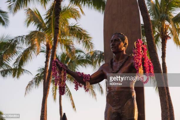 duke kahanamoku statue - waikiki stock pictures, royalty-free photos & images
