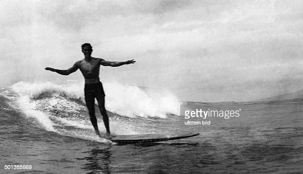 Duke Kahanamoku 'The Big Kahuna' USAmerican swimmer from Hawaii Winner of Olympic swimming contests in 1912 and 1920 established modern surfing and...