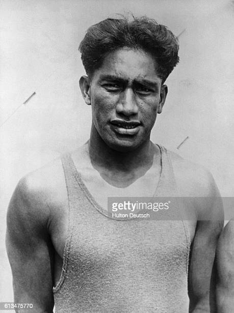 Duke Kahanamoku the Hawaiian swimmer who was heralded a hero after his rescue of six people from the yacht Thelam which capsized in rough seas off...