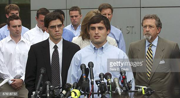 Duke lacrosse player David Evans 23yearsold proclaims his innocence as he addresses the media outside the Durham County Detention Center after being...
