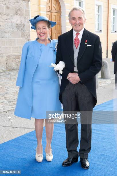 Duke Max Emanuel of Bavaria and his wife Duchess Elisabeth of Bavaria arrive at the SaintQuirin Church for the wedding of Duchess Sophie of...
