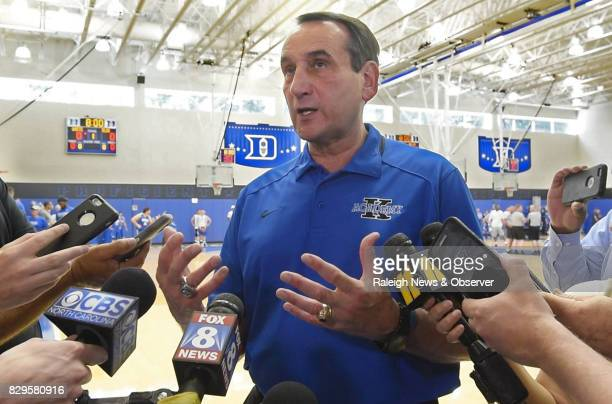 Duke men's head basketball coach Mike Krzyzewski gives his annual summer briefing to the media on May 31 at his basketball camp on the campus of Duke...