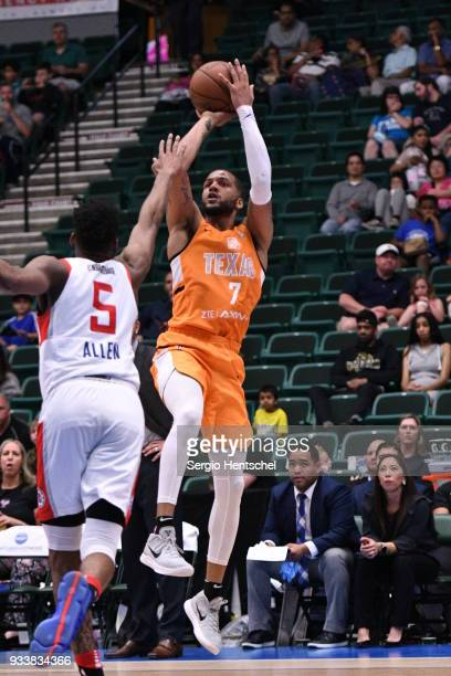 Duke Mondy of the Texas Legends shoots the ball against the Agua Caliente Clippers on March 18 2018 at the Dr Pepper Arena in Frisco Texas NOTE TO...
