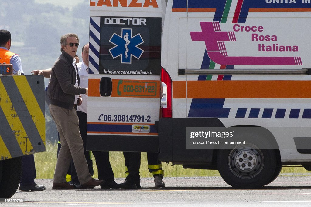 Duke of Alba Alfonso Diez is seen next to the stretcher where Duchess of Alba Cayetana Fitz James Stuart lies down on April 30, 2013 in Rome, Italy.