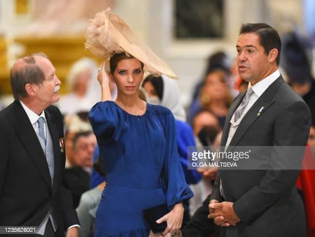 Duke of Braganza Duarte Pio speaks with Princess Marie-Marguerite, Duchess of Anjou , and her husband Prince Louis Alphonse de Bourbon, Duke of Anjou...