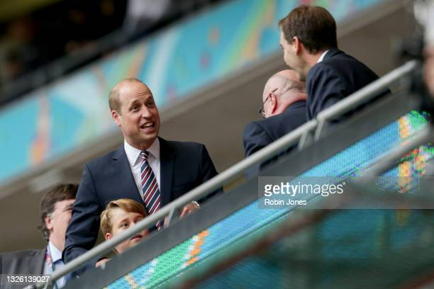 Duke of Cambridge, HRH Prince William with his son Prince George after England's 2-0 win during the UEFA Euro 2020 Championship Round of 16 match...