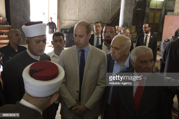 Duke of Cambridge Prince William accompanied by officials of Jerusalems Jordanrun Authority for Islamic Endowments visits holy sites in occupied East...