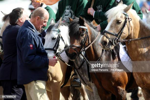 Duke of Edinburgh gives sugar lumps to horses from the Pony Club at the Royal Windsor Horse Show at Windsor Castle Berkshire