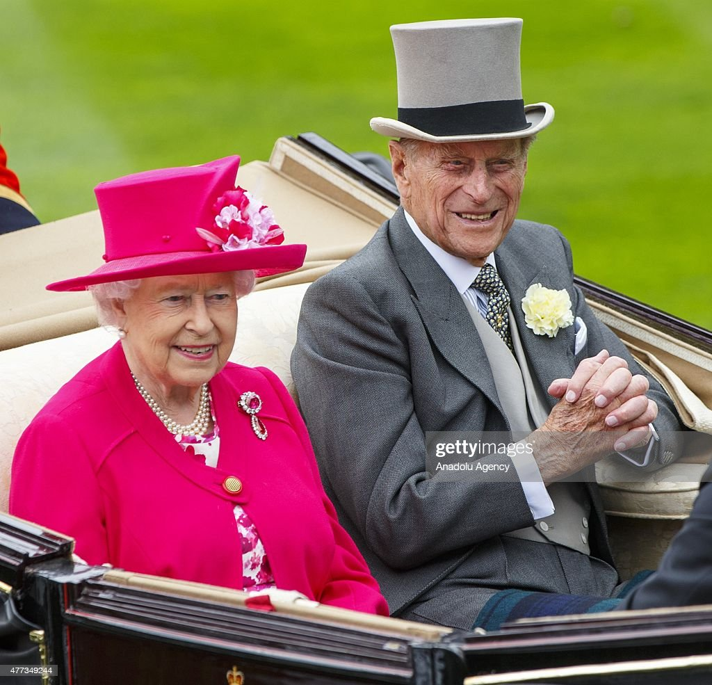 Duke of Edinburgh Prince Philip arrive in a carriage for day one of Royal Ascot horse racing at Ascot racecourse in Berkshire, on June 15, 2015. The 5 day showcase event, which is one of the highlights of the racing calendar, has been held at the famous Berkshire course since 1711 and tradition is a hallmark of the meeting. Top hats and tails remain compulsory in parts of the course.