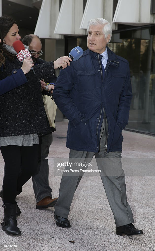 Duke of Huescar Carlos Fitz-James Stuart leaves court on January 14, 2013 in Madrid, Spain. The bullfighter Francisco Rivera and ex wife Duchess of Montoro Eugenia Martinez de Irujo are fighting for the custody of their daughter.