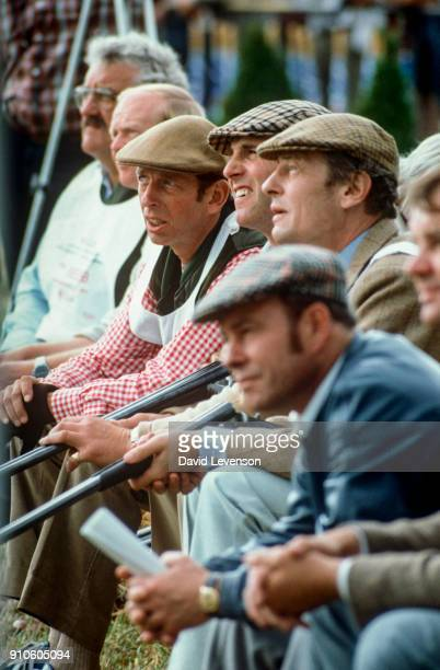 Duke of Kent Captain Mark Phillips and Angus Ogilvy at the Jackie Stewart Celebrity Shooting Match at the North Wales Shooting School in Deeside on...