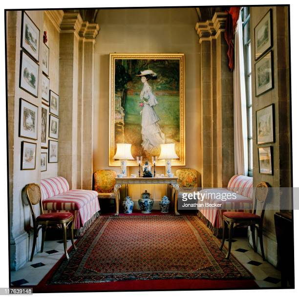 Duke of Marlborough's Blenheim Palace A portrait of Consuelo Vanderbilt painted by Umberto Veruda in 1903 is photographed for Vanity Fair Magazine on...