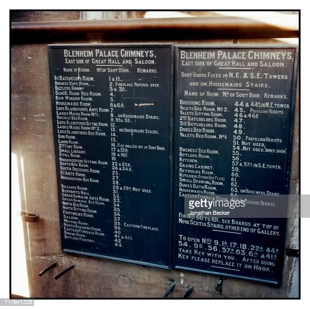 Duke of Marlborough's Blenheim Palace An old servants' blackboard is photographed for Vanity Fair Magazine on October 2527 2010 in Woodstock England...