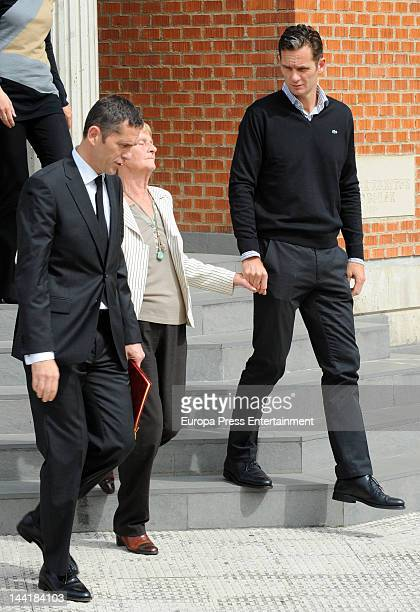 Duke of Palma Inaki Urdangarin his brother Mikel Urdangarin nd his mother Claire Lieabaert attend the chapel funeral for his father Juan Maria...
