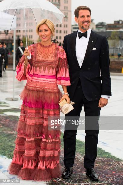 Duke of Sparta and Princess MarieChantal of Greece arrive for a gala dinner at the Operahouse in Oslo on May 10 2017 in celebration of the 80th...