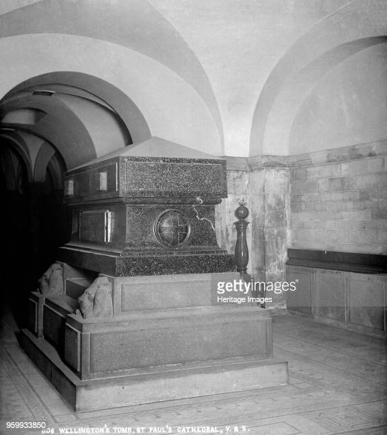 Duke of Wellington's tomb St Paul's Cathedral City of London 18701900 A view of the sarcophagus of Cornish porphyry within the crypt of the cathedral...