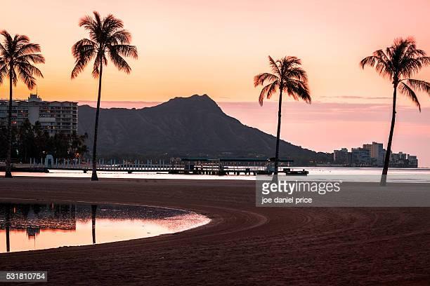 Duke Paoa Kahanamoku Lagoon, Diamond Head Volcano, Palm Trees, Waikiki Beach, Waikiki, Honolulu, Oahu, Hawaii, America