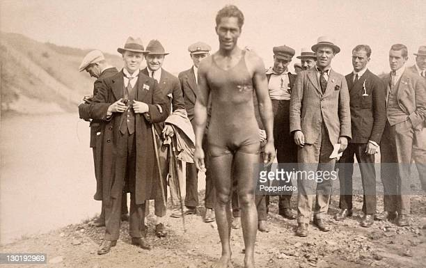 Duke Paoa Kahanamoku of the USA after setting the world record in the 100 metre freestyle swimming event at the Olympic Games in Antwerp circa August...