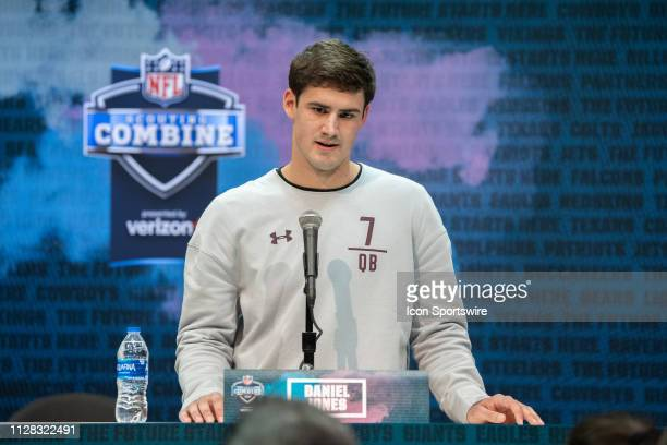 Duke quarterback Daniel Jones talks to the media during the NFL Scouting Combine on March 1 2019 at the Indiana Convention Center in Indianapolis IN