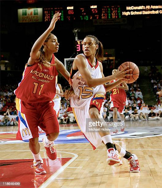 Duke recruit Jasmine Thomas dribbles around Ohio State recruit Alison Jackson in the lane during the McDonald's All American High School Basketball...