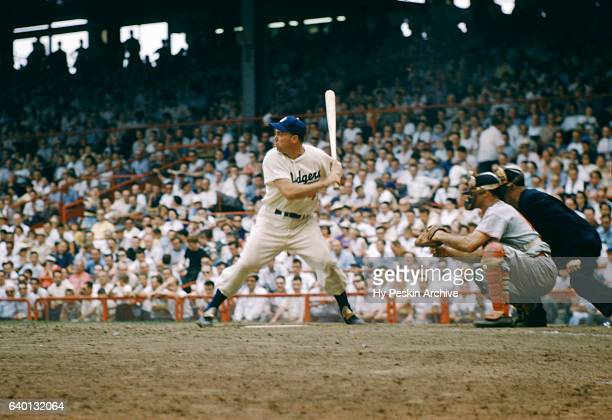 Duke Snider of the Brooklyn Dodgers bats during an MLB game against the St Louis Cardinals on June 26 1954 at Ebbets Field in Brooklyn New York