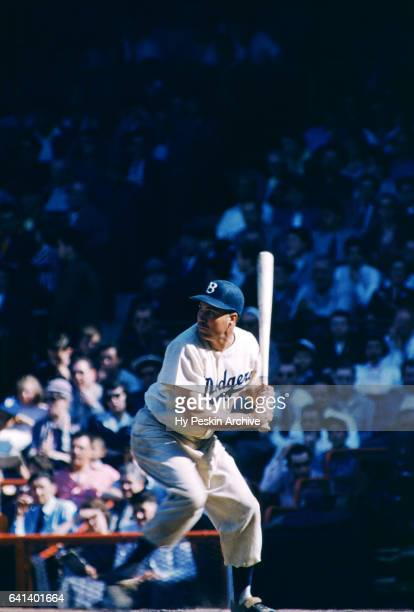 Duke Snider of the Brooklyn Dodgers bats during an MLB game against the Philadelphia Phillies on May 22 1955 at Ebbets Field in Brooklyn New York