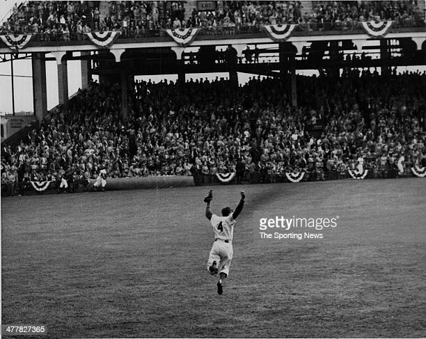 Duke Snider of the Brooklyn Dodgers celebrates after the final out of Game One of the 1952 World Series which was won 42 by the Dodgers over the New...