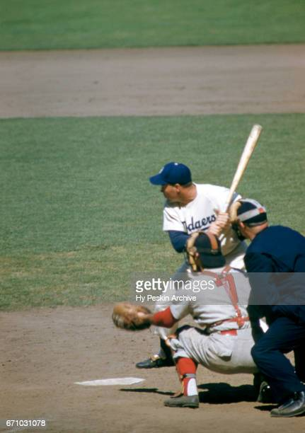 Duke Snider of the Brooklyn Dodgers waits for the pitch during an MLB game against the Cincinnati Redlegs circa June 1954 at Ebbets Field in Brooklyn...