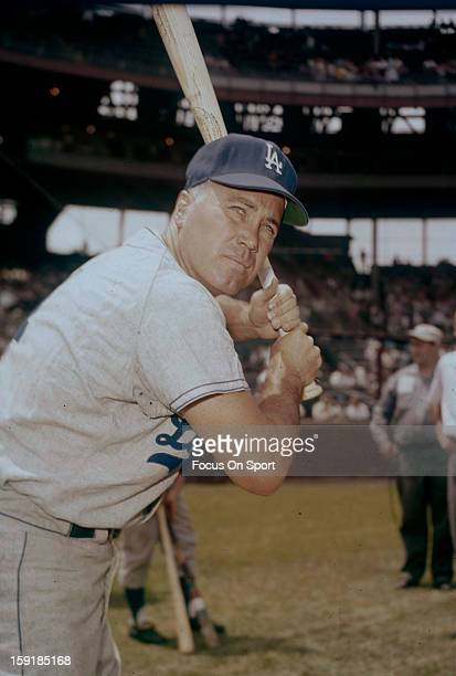 Duke Snider of the Los Angeles Dodgers poses for this photo before a Major League Baseball game circa 1962 Snider played for the Brooklyn/Los Angeles...