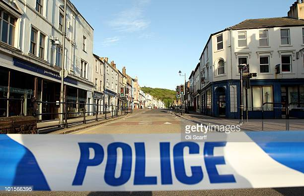 Duke Street in Whitehaven is cordoned off to the public with policetape for a scene of a murder caused by gunman Derrick Bird on June 2 2010 in...