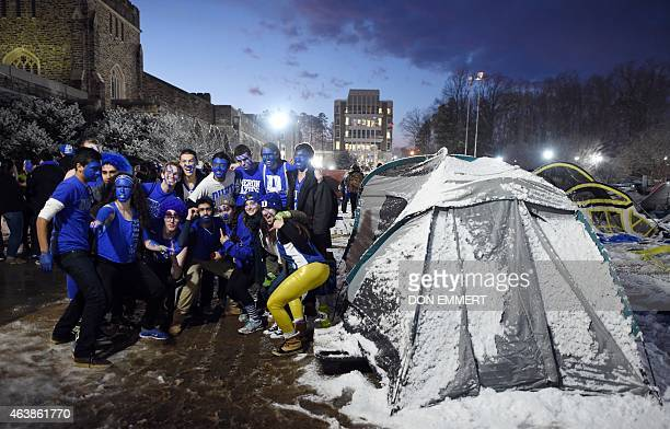 Duke students pose for a photo in KVille named after Duke head coach Mike Krzyzewski with faces painted for the big game February 18 2015 at Duke...