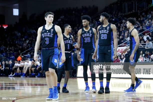 Duke takes the court after a time out during a game between the Boston College Eagles and the Duke University Blue Devils on December 9 at Conte...