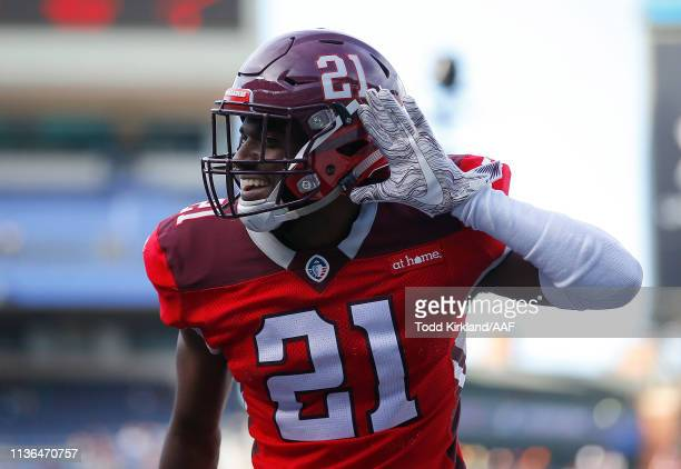 Duke Thomas of the San Antonio Commanders celebrates against the Atlanta Legends during the second half in the Alliance of American Football game at...