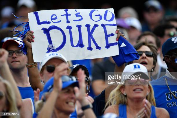 Duke University fans cheer for the Blue Devils during Duke's win over the University of Maryland on Saturday May 26 2018 With the win Duke advances...