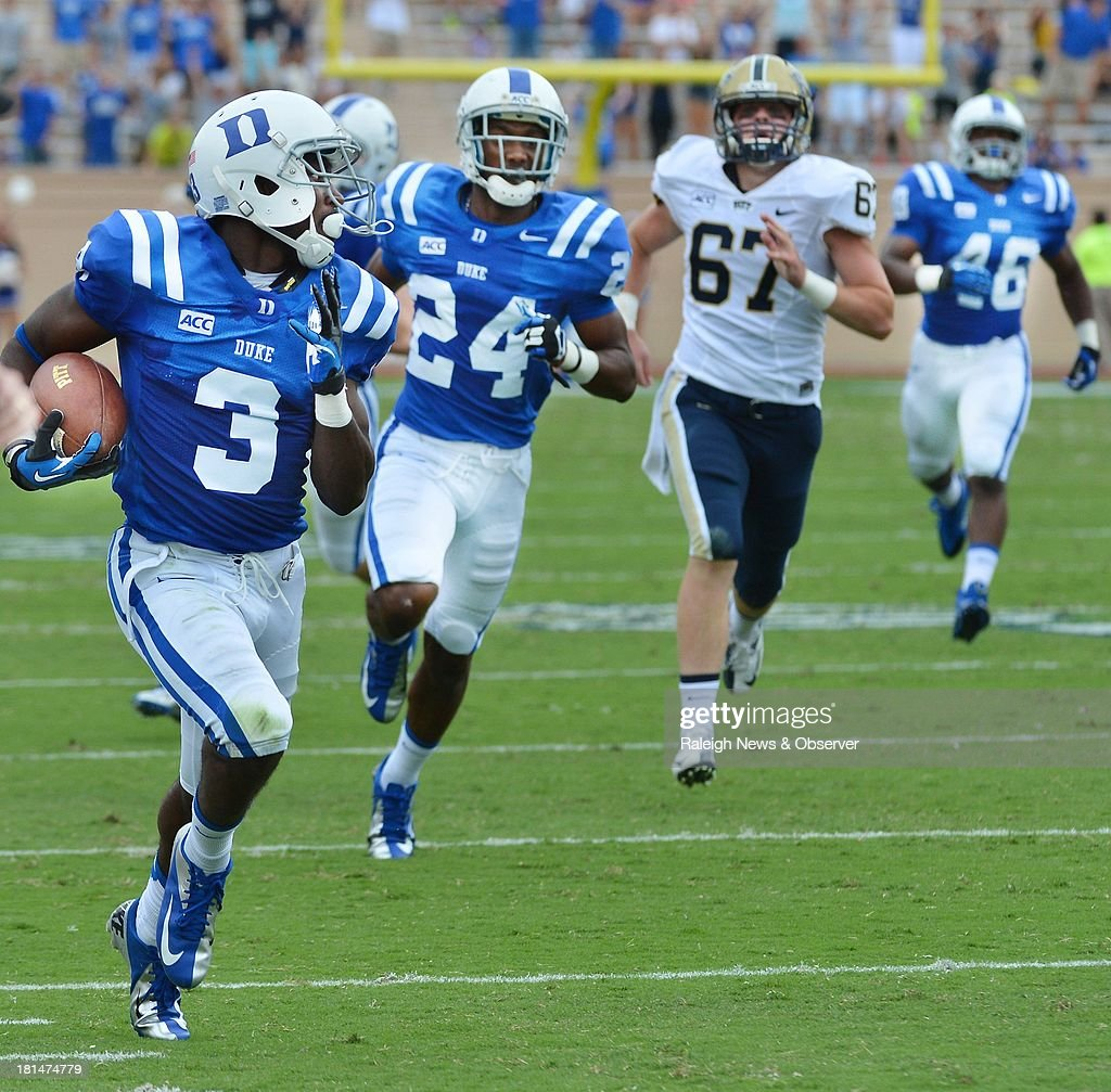 Duke wide receiver Jamison Crowder (3) returns a punt for touchdown in the second quarter against Pittsburgh at Wallace Wade Stadium in Durham, North Carolina, on Saturday, September 21, 2013. Pitt held off Duke, 58-55.