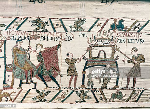 Duke William receiving news about King Harold detail of Queen Mathilda's Tapestry or Bayeux Tapestry depicting Norman conquest of England in 1066...