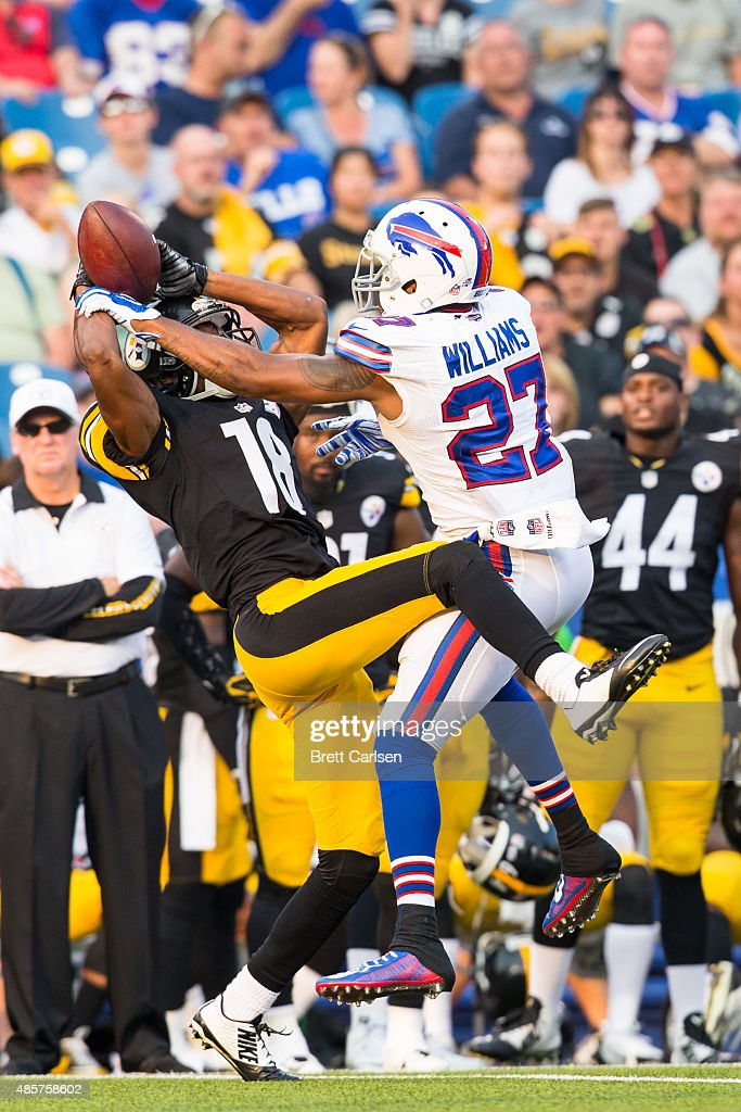 Duke Williams #27 of the Buffalo Bills breaks up a pass intended for C.J. Goodwin #18 of the Pittsburgh Steelers during the fourth quarter of a preseason game on August 29, 2015 at Ralph Wilson Stadium in Orchard Park, New York. Buffalo defeats Pittsburgh 43-19.