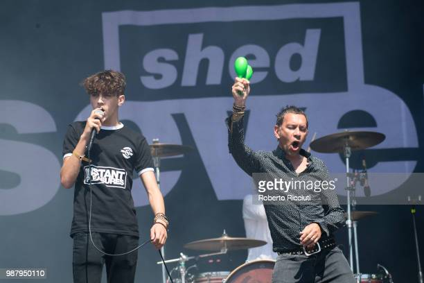 Duke Witter and Rick Witter of Shed Seven perform on stage during TRNSMT Festival Day 2 at Glasgow Green on June 30 2018 in Glasgow Scotland
