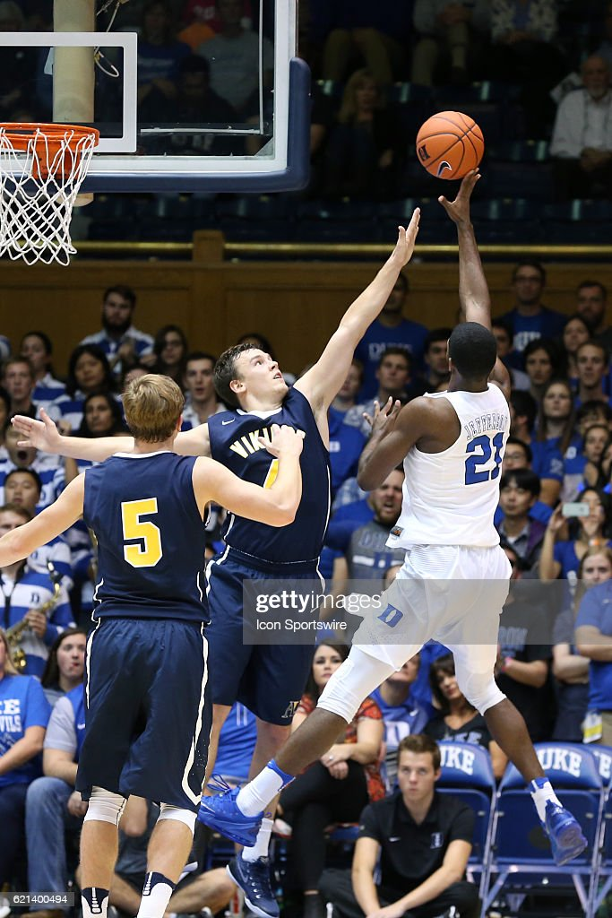 Duke's Amile Jefferson shoots over Augustana's Mike Busack