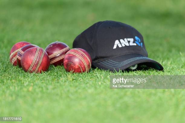 Dukes balls are seen next to a Blackcaps cap during a New Zealand Blackcaps training session at the New Zealand Cricket High Performance Centre on...