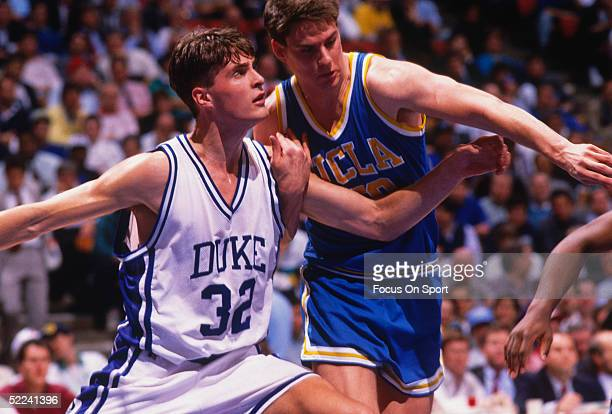 Duke's center Christian Laettner blocks against a UCLA player during the NCAA playoffs Duke would later lose the championship to UNLV