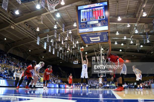Duke's Haley Gorecki shoots a free throw during the Duke Blue Devils game versus the Ohio State Buckeyes on November 30 at Cameron Indoor Stadium in...