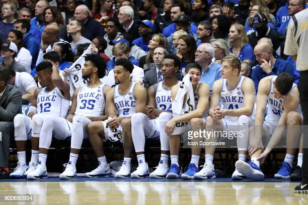 Duke's Javin DeLaurier Marvin Bagley III Gary Trent Jr Wendall Carter Jr Grayson Allen Jack White and Antonio Vrankovic watch the substitutes play...
