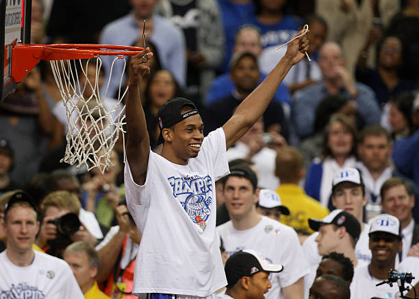 Dukes Lance Thomas Celebrates After Cut A Piece Of The Net 79 69 Victory Over Florida State In Finals ACC Mens Basketball