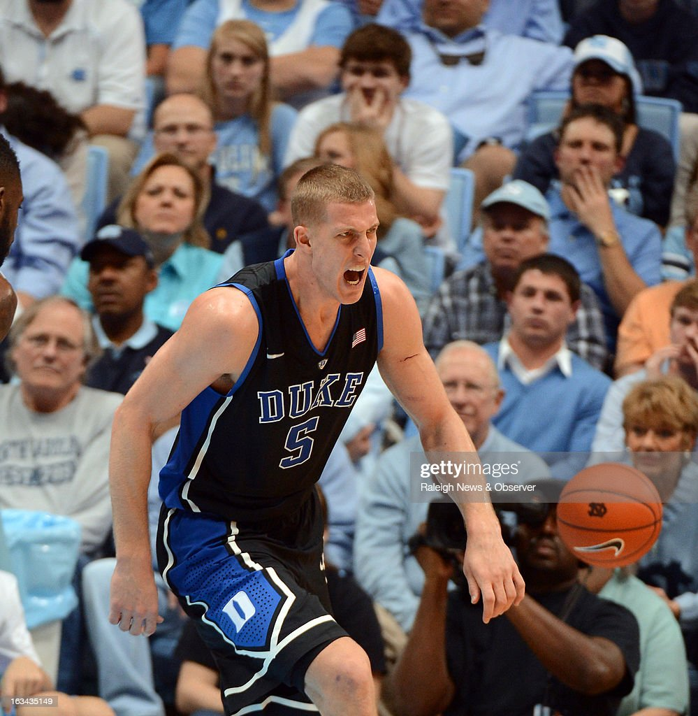 Duke's Mason Plumlee (5) reacts after scoring two points during the second half against North Carolina on Saturday, March 9, 2013, at the Smith Center in Chapel Hill, North Carolina. Duke topped the Tar Heels, 69-53.