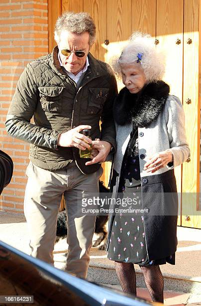 Dukes of Alba Alfonso Diez and Cayetana FitzJames Stuart are seen leaving Jose Bono's home after a lunch on March 20 2013 in Bargas Spain