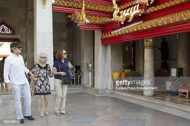 Dukes of Alba Cayetana FitzJames Stuart Alfonso Diez an secretary Lola Morali are seen at the Marble Temple on January 27 2013 in Bangkok Thailand
