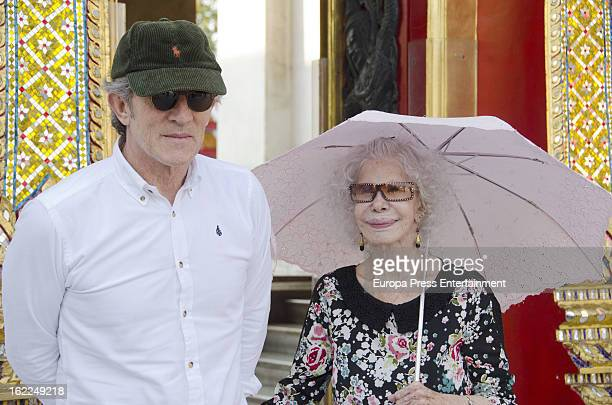 Dukes of Alba Cayetana FitzJames Stuart and Alfonso Diez are seen at the Marble Temple on January 27 2013 in Bangkok Thailand