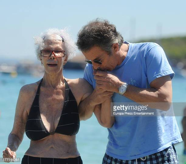 Dukes of Alba Cayetana FitzJames Stuart and Alfonso Diez are seen on August 21 2013 in Ibiza Spain