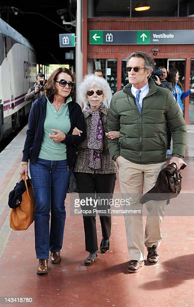 Dukes of Alba Cayetana FitzJames Stuart and Alfonso Diez are seen starting their Honeymoon on April 25 2012 in Madrid Spain